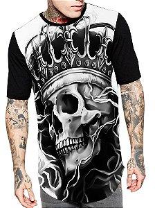 Camiseta Camisa Longline Estampa Full Rei Caveira Skull Unissex