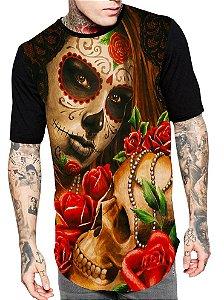 Camiseta Camisa Longline Estampa Full Caveira Mexicana Unissex