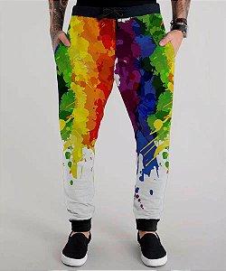 Calça Moletom Lgbt Gls Arco-iris Gay Pride Rainbow Aquarela