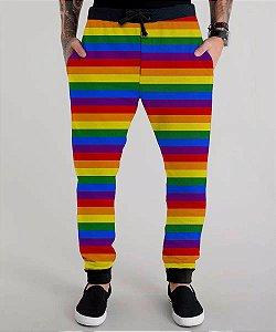 Calça Moletom Lgbt Gls Arco-iris Gay Pride Rainbow Bandeira