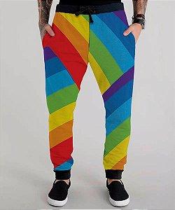 Calça Moletom Masculina Bandeira Arco-íris Rainbow Lgbt Gls