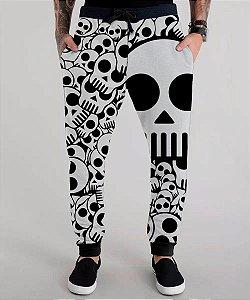 Calça Moletom Caveira Skull Caveirinhas Tumblr Rock N' Roll