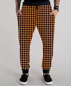 Calça Moletom Masculina Xadrez Laranja Orange Chess Tumblr