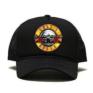 Boné Trucker Telinha Aba Curva Guns N' Roses Axl Unissex