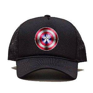 Boné Trucker Tela Capitão America Heroi Desenho