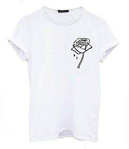 Camiseta Rosa Flor Tumblr Camisa Tshirt 100% Algodão Oferta