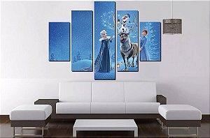 Painel Quadro Mosaico 5 Partes Frozen 100cm x 68cm