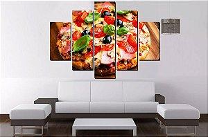 Quadro Mosaico 5 Partes Pizza Pizzaria 100cmx77cm