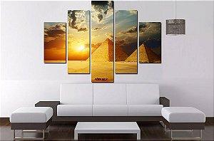 Quadro 5 Partes Piramides Do Egito 100cm X 68cm Luxo