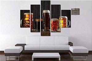 Quadro 5 Partes Cerveja Artesanal 100cm X 68cm Luxo
