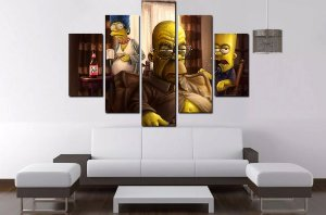Quadro 5 Partes Homer Simpsons Velho 100cm X 68cm Luxo