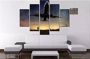 Quadro 5 Partes Avião 100cm X 68cm Luxo