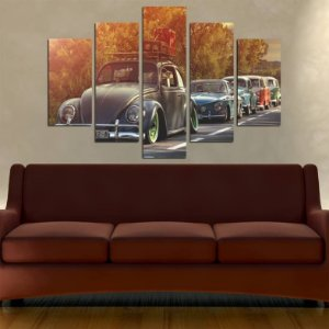 Quadro Painel Mosaico 5 Partes Fusca Retrô Carro Antigo