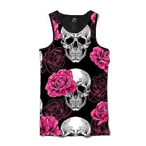 Camiseta Regata Skull Pink Rose Full Print Preto