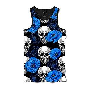 Camiseta Regata Caveira Lírio Azul Full Print Preto