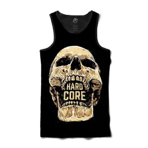 Camiseta  Regata Caveira Hard Core Full Print Preto