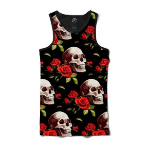 Camiseta Regata Smiling Skull Red Rose Full Print - Preto