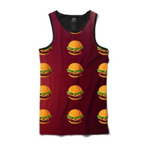 Camiseta Regata Hamburger Sublimada Preto