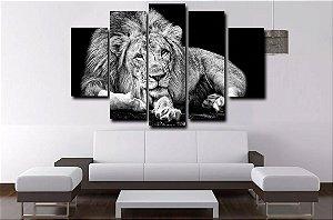Quadro Painel Mosaico 5 Partes Leão Branco