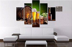 Quadro Mosaico 5 Partes Cerveja Artesanal 100cmx68cm