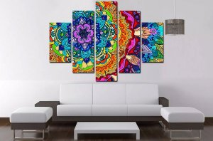 Quadro Mosaico 5 Partes Mandala 100cmx68cm
