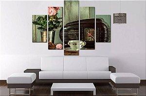 Quadro Mosaico 5 Partes Cafe Vintage 100cmx68cm