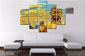 Quadro Mosaico 5 Partes Buda Proteção 100cmx68cm