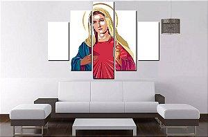 Quadro Mosaico 5 Partes Virgem Maria 100 cmx 68cm