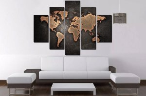 Quadro Mosaico 5 Partes Mapa Mundi Vintag 100 cm x 68cm