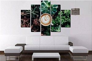 Painel Quadro Mosaico 5 Partes Cafe - 100 cm X 68 cm