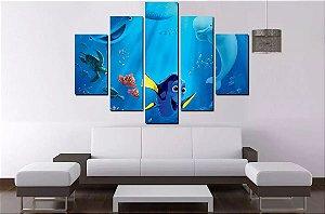 Quadro Mosaico 5 Partes Procurando Nemo 100cmx68cm