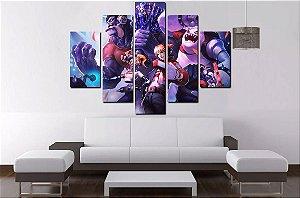 Quadro Mosaico 5 Partes League Of Legends  - 100 cm X 68 cm