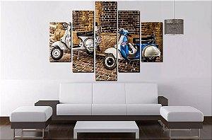Quadro Mosaico 5 Partes Moto Mobilete  - 100 cm X 68 cm