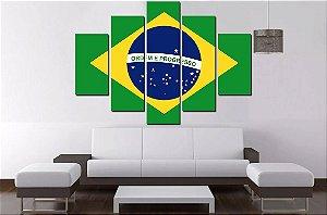 Quadro Mosaico 5 Partes Bandeira Brasil  - 100 cm X 68 cm
