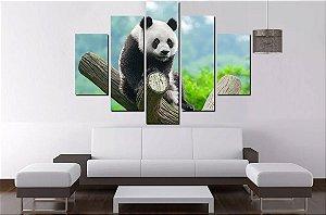 Quadro Mosaico 5 Partes Panda - 100 cm X 68 cm