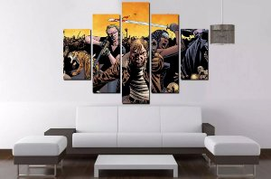 Quadro Mosaico 5 Partes The Walking Dead - 100cmx68cm