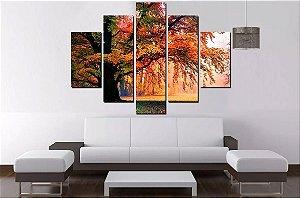 Quadro Mosaico 5 Partes Arvore Outono - 100cmx68cm