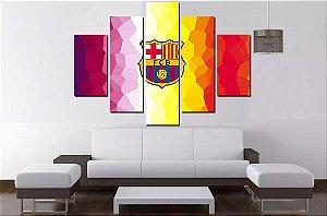 Quadro Mosaico 5 Partes Fc Barcelona  100cmx68cm