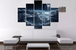 Quadro Mosaico 5 Partes Céu Nuvens Espaço 100cmx68cm