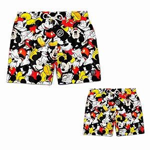 Kit Tal Pai Tal Filho Short Bermuda Ney Moda Praia Mauricinho Mickey