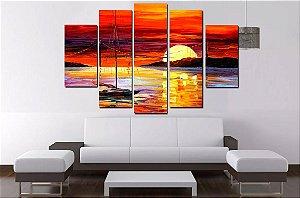Painel Mosaico Pintura Tela 5 Partes Abstrato Por Do Sol  - 100 cm X 68 cm