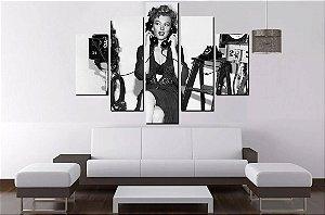 Quadro Mosaico 5 Partes Marilyn Monroe 100cmx68cm