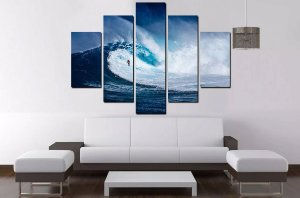 Quadro Mosaico 5 Partes Surf 100cmx68cm