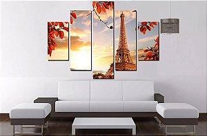 Quadro Mosaico 5 Partes Paris 100cmx68cm