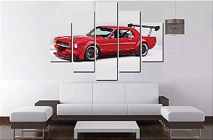 Quadro Mosaico 5 Partes Ford Mustang 1966 100cmx68cm