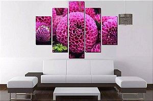 Quadro Mosaico 5 Partes Flores Pink  100cmx68cm