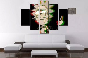 Quadro Mosaico 5 Partes Rick And Morty 100cmx68cm