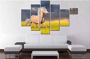 Quadro Mosaico 5 Partes Cavalo Horse  100cmx68cm