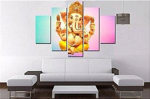 Quadro Mosaico 5 Partes Ganesha 100cmx68cm