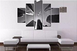 Quadro Mosaico 5 Partes Avião - 100 cm x 68 cm